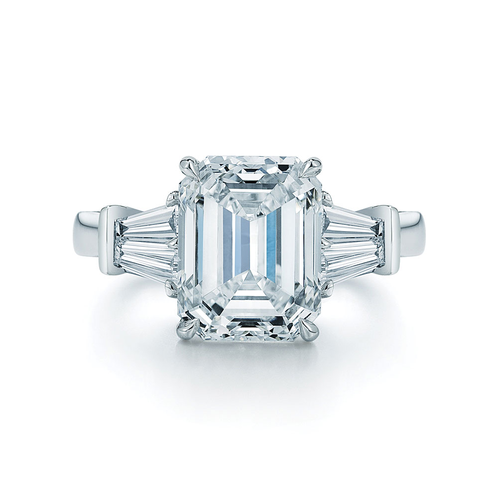 Emerald Cut Diamond Platinum Ring Tapered Baguettes