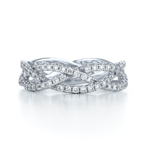 Three row woven diamond ring in 18K white gold