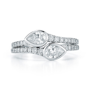 Pear shape diamond bypass ring from the Duet Collection in 18K white gold