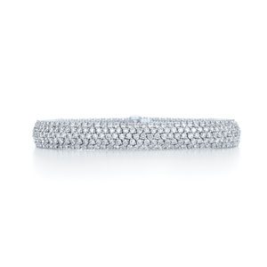 Pav?© diamond seven-row bracelet in 18k white gold.