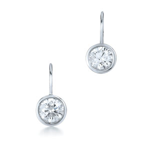 Round brilliant diamond stud earrings on a eurowire