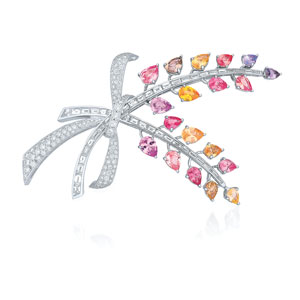 Diamond and multicolor sapphire spray brooch from the Kwiat Collection in platinum
