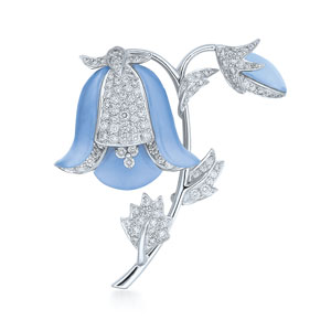 Diamond and chalcedony bluebell brooch in 18K white gold