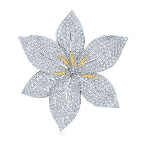 Diamond and sapphire brooch from the Kwiat Collection in 18K white gold