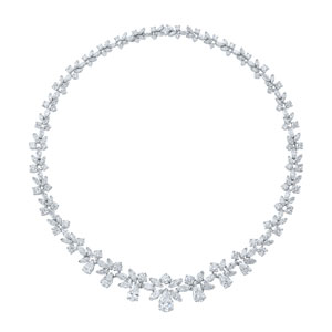 Fancy shape diamond necklace from the American Beauty Collection in platinum