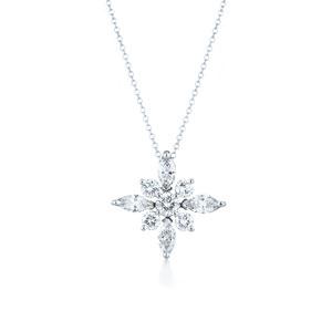 Diamond pendant in platinum.