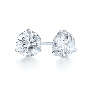 Round brilliant diamond stud earrings in the Kwiat signature 3 prong platinum mounting