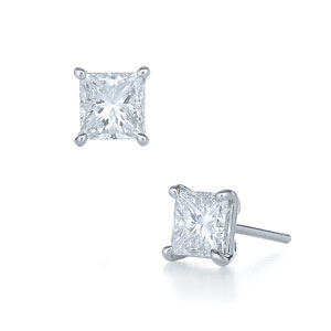 Princess cut diamond stud earrings in a 4-prong platinum mounting