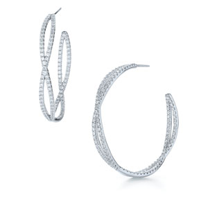 Large diamond hoop earrings from the Fidelity Collection in 18K white gold