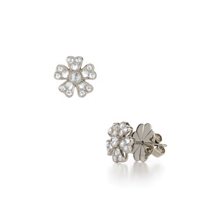 Floral stud diamond earrings from the Kwiat Vintage Collection in 18K white gold