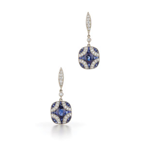 Argyle sapphire and diamond earrings from the Kwiat Vintage Collection in 18K white gold