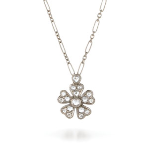 Single floral diamond pendant from the Kwiat Vintage Collection in 18K white gold