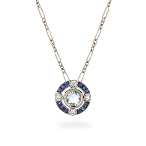 Cosmos sapphire and rose cut diamond pendant from the Kwiat Vintage Collection in 18K white gold
