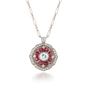 Mandala ruby and diamond pendant from the Kwiat Vintage Collection in 18K white gold