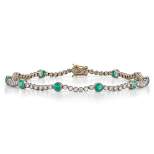 Emerald and diamond line bracelet from the Kwiat Vintage Collection in 18K white gold