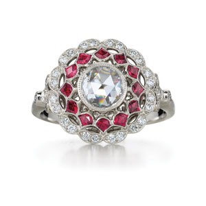 Ruby and diamond ring from the Kwiat Vintage Collection in platinum