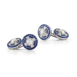 Cosmos sapphire and rose cut diamond cufflinks from the Kwiat Vintage Collection in 18K white gold
