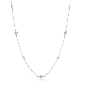 Diamond String Necklace with Quad Elements in 18K white gold from 16 to 36 inches