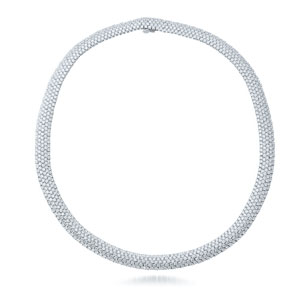 Pave diamond necklace from the Moonlight Collection in 18K white gold