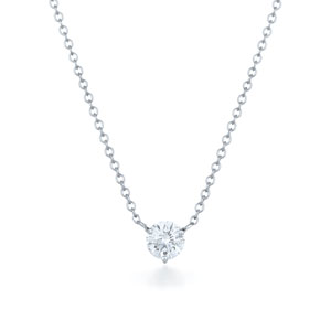 Round brilliant diamond solitaire pendant in the Kwiat signature 3 prong platinum mounting