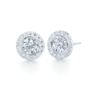 Round diamond stud earrings with micropave border from the Silhouette Collection
