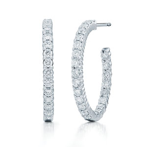 Diamond hoop earrings in a shared prong setting in 18K white gold, large sizes