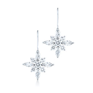 Small diamond drop earrings from the Kwiat Star Collection in platinum