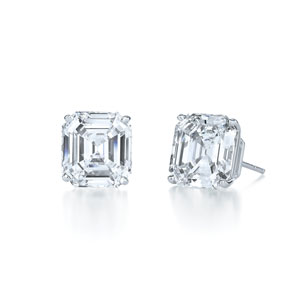 Asscher cut diamond stud earrings in a four prong platinum setting