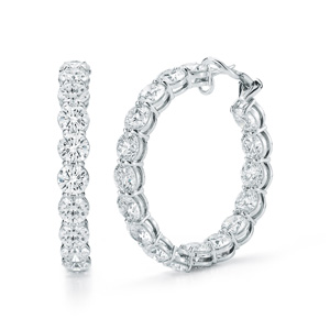 hared prong diamond hoop earrings in platinum with diamond size of 0.70 carats