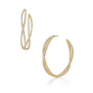 Large diamond hoop earrings from the Fidelity Collection in 18K yellow gold