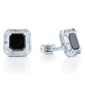 Diamond and black onyx cufflinks
