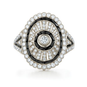 Ares onyx and diamond ring from the Kwiat Vintage Collection in 18K white gold
