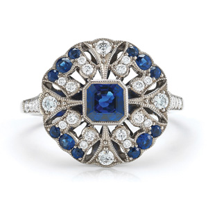Eros sapphire and diamond ring from the Kwiat Vintage Collection in 18K white gold