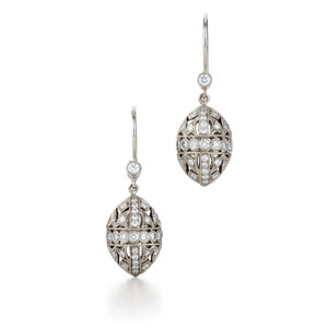 Filigree drop diamond earrings from the Kwiat Vintage Collection in 18K white gold