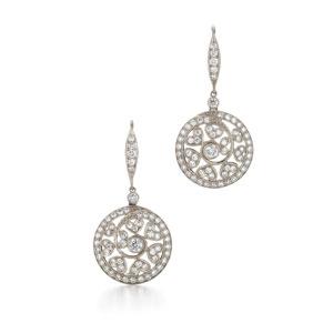 Diamond drop earrings in 18k white gold.