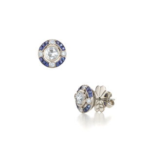 Cosmos sapphire and rose cut diamond earrings from the Kwiat Vintage Collection