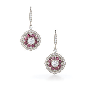 Mandala ruby and diamond earrings from the Kwiat Vintage Collection in 18K white gold