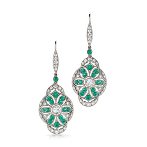 Celeste emerald and diamond earrings from the Kwiat Vintage Collection in 18K white gold