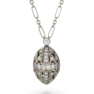 Filigree egg diamond pendant from the Kwiat Vintage Collection in 18K white gold