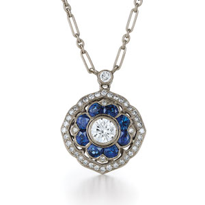 Mandala sapphire and diamond pendant from the Kwiat Vintage Collection in 18K white gold