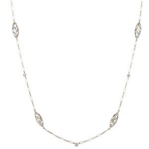 Diamond filigree necklace in 18k white gold.