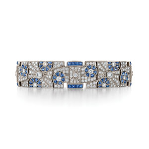 Deco sapphire and diamond bracelet from the Kwiat Vintage Collection in platinum