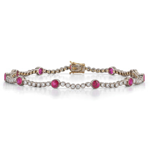 Ruby and diamond line bracelet from the Kwiat Vintage Collection in 18K white gold