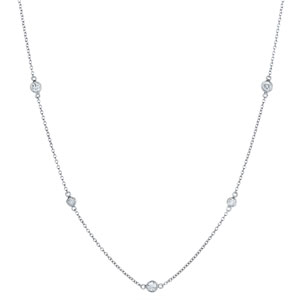 Diamond String Necklace with Single Elements in 18K white gold from 16 to 36 inches