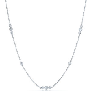 Diamond String Necklace with Triplet Elements in 18K white gold from 16 to 36 inches