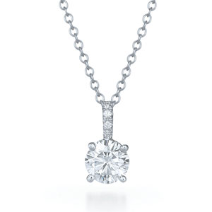 Round brilliant diamond solitaire pendant in 4 prong setting with a pave diamond bail