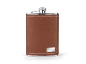 Groomstars Brown Leather Engraved Flask